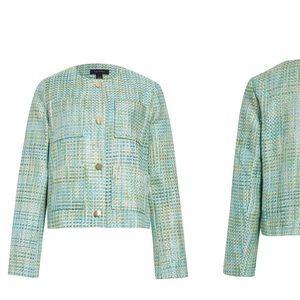 NWT HALOGEN green multi tweed jacket